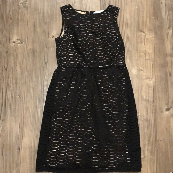 LOFT Dresses & Skirts - LOFT size 2 black eyelet laser cut dress